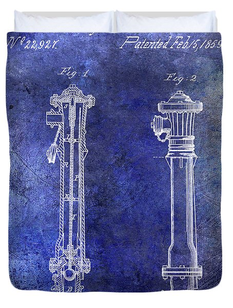 1859 Hire Hydrant Patent Blue Duvet Cover