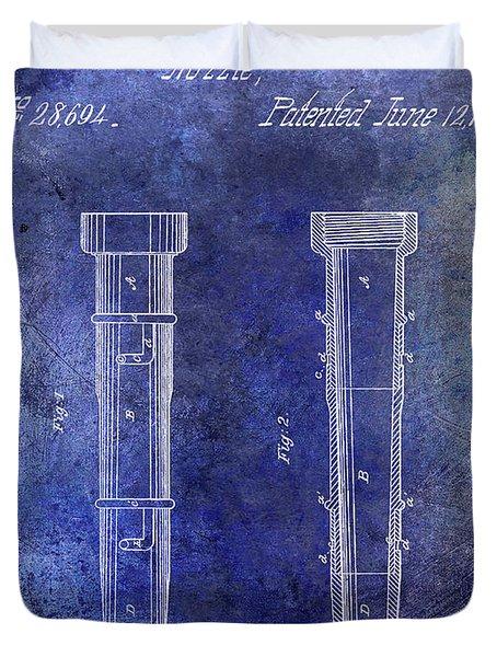 1860 Fire Hose Nozzle Patent Blue Duvet Cover
