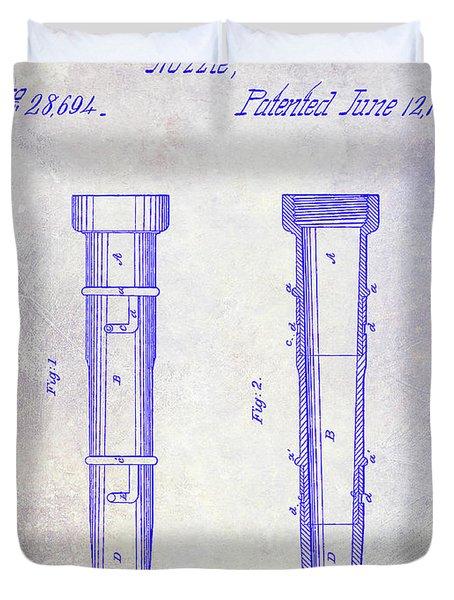 1860 Fire Hose Nozzle Patent Blueprint Duvet Cover