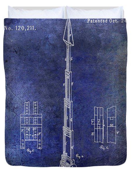 1871 Fire Hose Elevator Patent Blue Duvet Cover