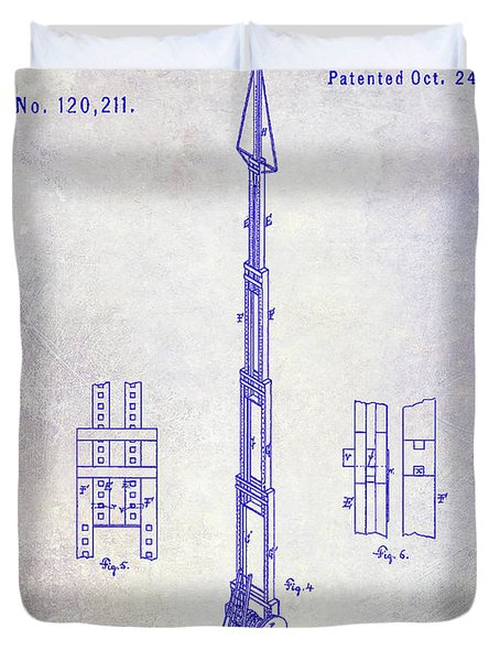 1871 Fire Hose Elevator Patent Blueprint  Duvet Cover