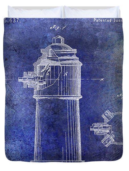1871 Fire Hydrant Patent Blue Duvet Cover