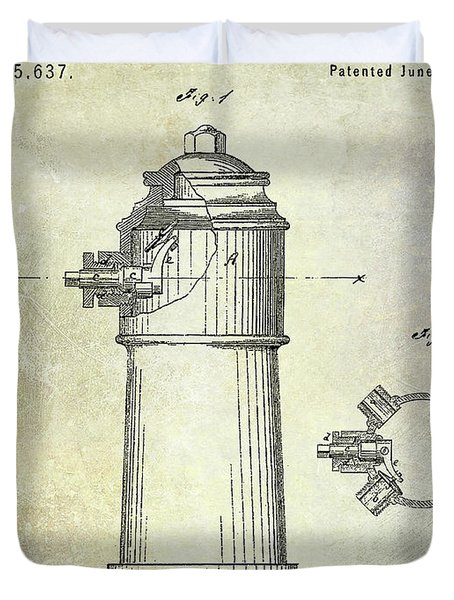 1871 Fire Hydrant Patent Duvet Cover