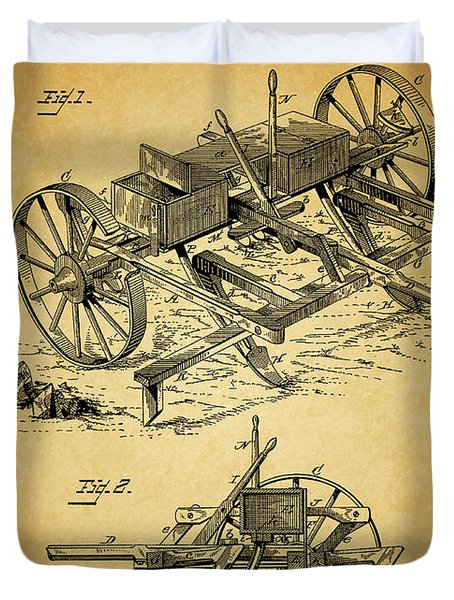 1885 Corn Planter And Plow Duvet Cover