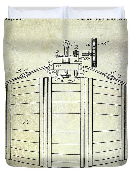 1888 Whiskey Or Beer Barral Patent Duvet Cover
