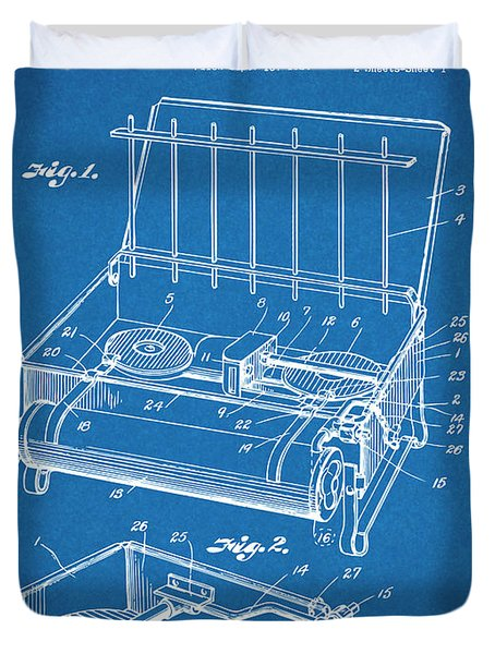 1924 Coleman Camp Stove Blueprint Patent Print Duvet Cover