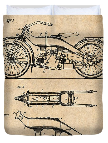 1924 Harley Davidson Motorcycle Patent Print Antique Paper Duvet Cover