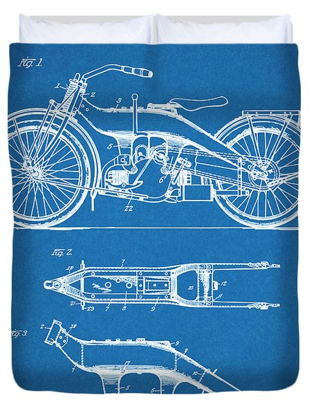 1924 Harley Davidson Motorcycle Patent Print Blueprint Duvet Cover