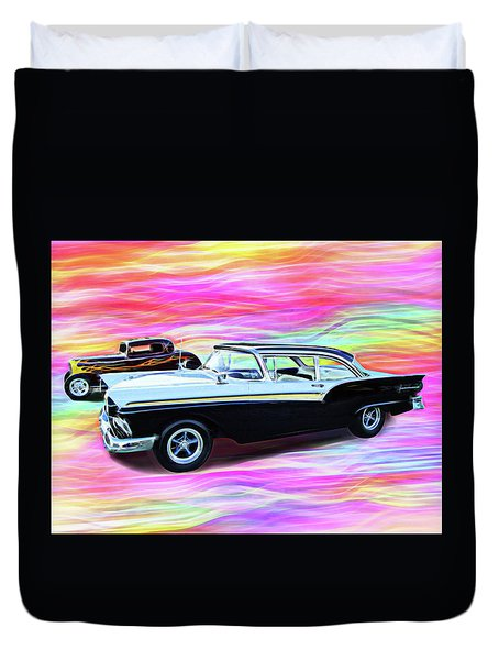 1932 And 1957 Fords Duvet Cover