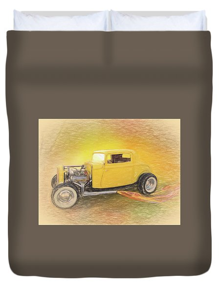 1932 Ford Coupe Yellow Duvet Cover