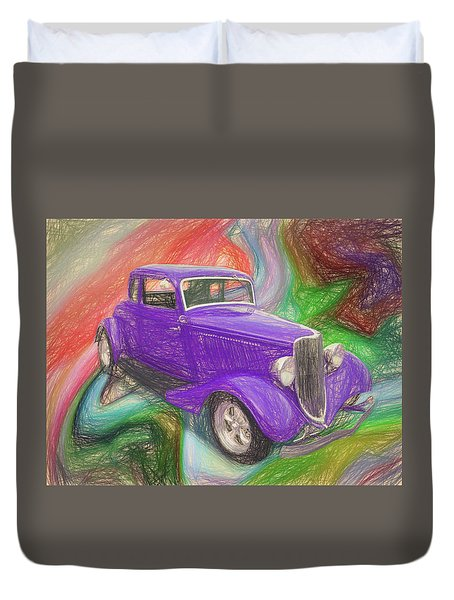 1934 Ford Colored Pencil Duvet Cover
