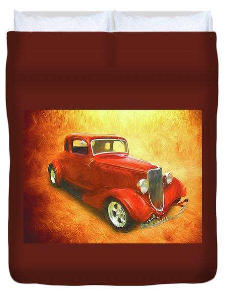 1934 Ford On Fire Duvet Cover