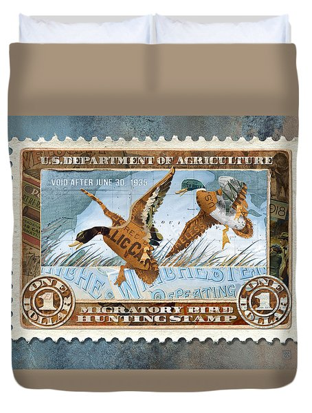 1934 Hunting Stamp Collage Duvet Cover
