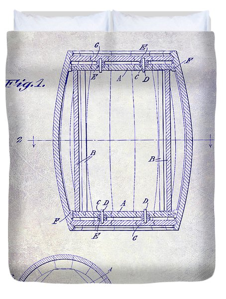 1937 Whiskey Barrel Patent Blueprint Duvet Cover