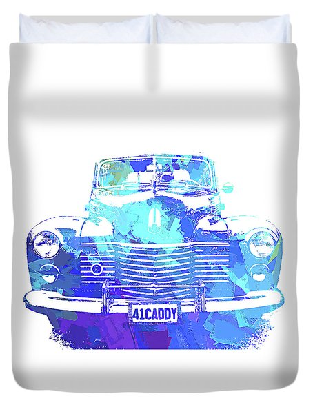 Duvet Cover featuring the digital art 1941 Cadillac Front Abs Blue by David King