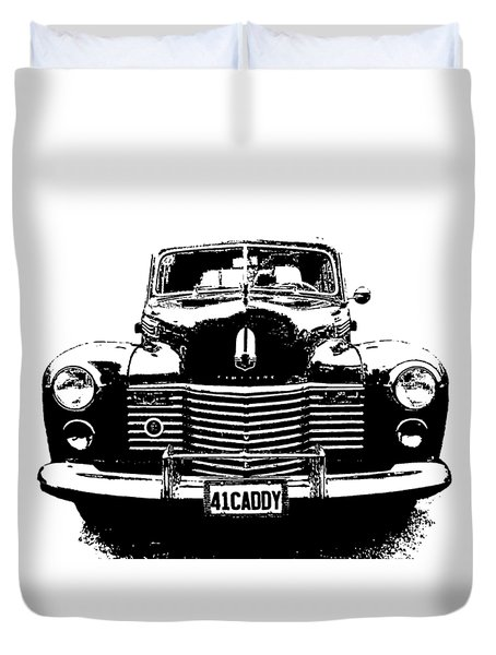 Duvet Cover featuring the digital art 1941 Cadillac Front Blk by David King