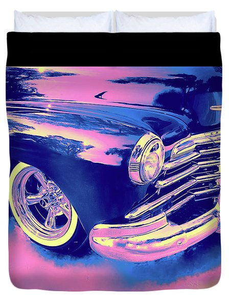 1948 Chevy Fleetline On The Down Low Blue Duvet Cover