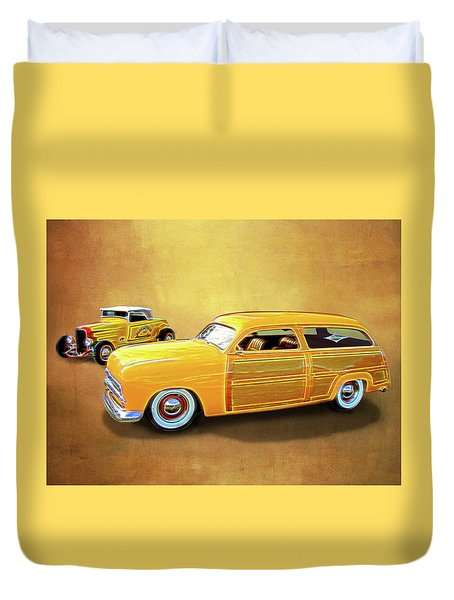 1949 Woody And 1932 Roadster Duvet Cover