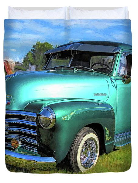 1950 Chevy Pickup Lowrider Bomb Duvet Cover