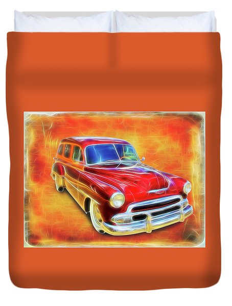 1951 Chevy Woody Duvet Cover