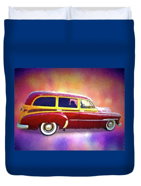 1951 Chevy Woody Sideview Duvet Cover