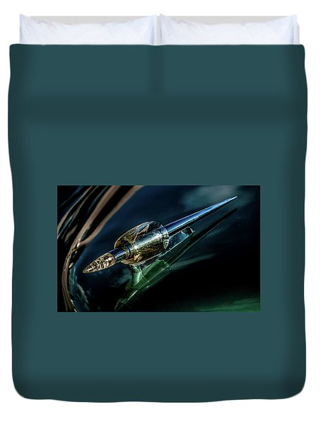 Duvet Cover featuring the photograph 1951 Kaiser Deluxe Traveler Hood Oranament by Onyonet  Photo Studios