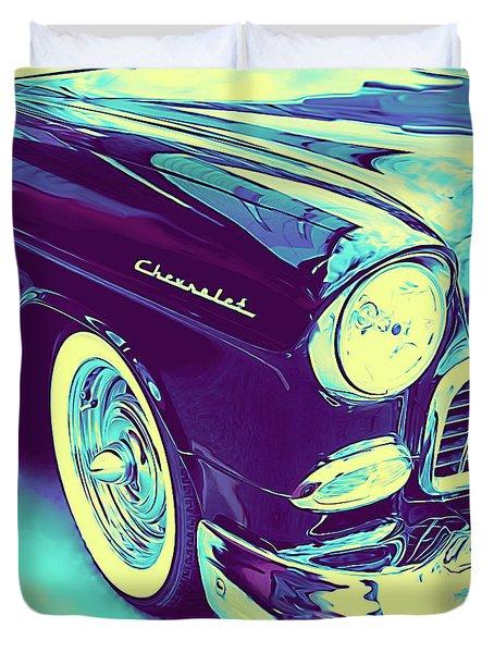1955 Chevy Custom Front Blue Duvet Cover