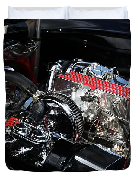 Duvet Cover featuring the photograph 1957 Chevrolet Corvette Engine by Debi Dalio