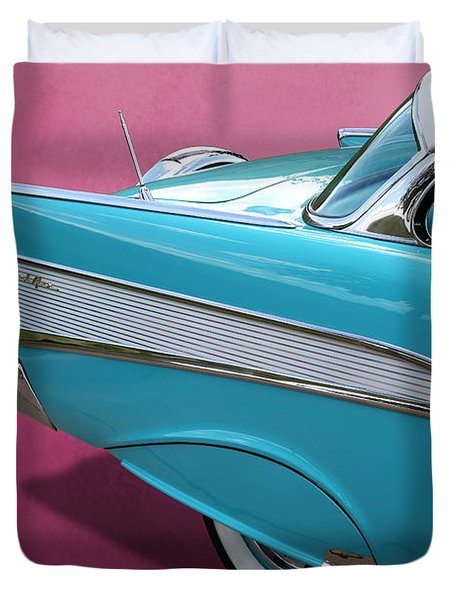 Duvet Cover featuring the photograph Turquoise 1957 Chevrolet Bel Air by Debi Dalio