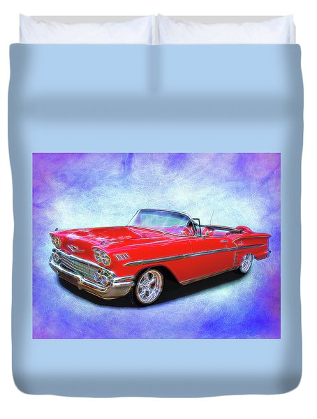 1958 Red Chevy Convertable Duvet Cover
