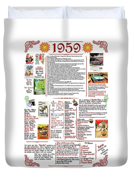 1959 Back In Time Historic Poster, Birthday Present Poster Duvet Cover