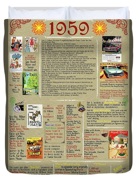 1959 Back In Time History Poster, Birthday Present Poster, All About 1959 Poster Duvet Cover