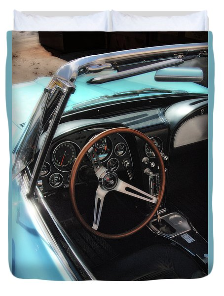 Duvet Cover featuring the photograph 1965 Chevrolet Corvette Convertible - Driver Side by Angie Tirado