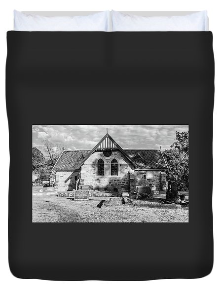 19th Century Sandstone Church In Black And White Duvet Cover