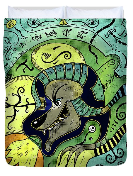 Duvet Cover featuring the digital art Anubis by Sotuland Art