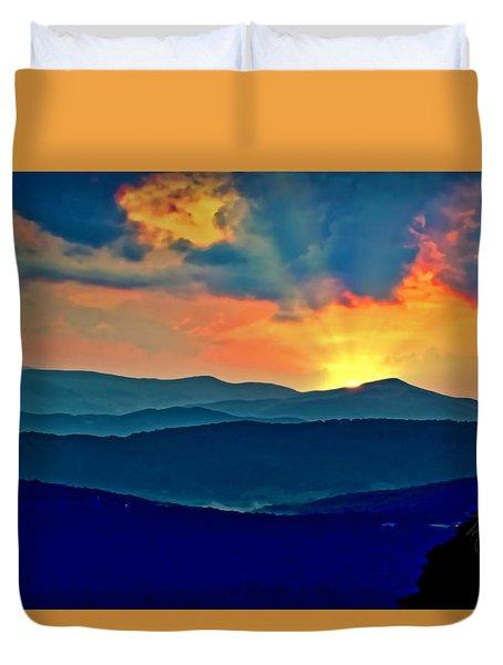 Blue Ridge Mountains Sunset Duvet Cover