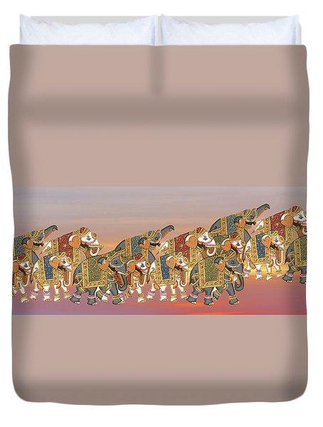 Caparisoned Elephants   Duvet Cover