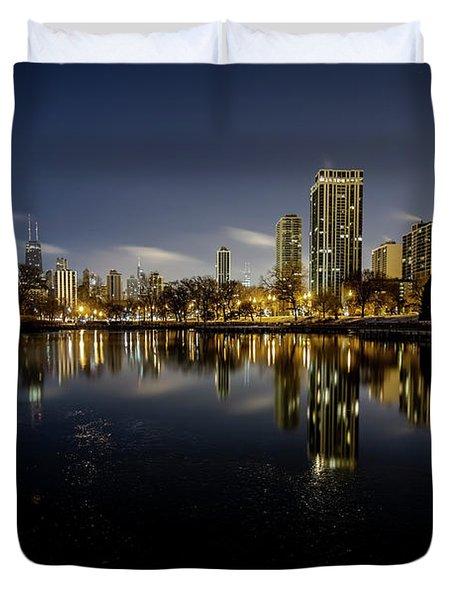 Chicago Skyline At Dawn  Duvet Cover