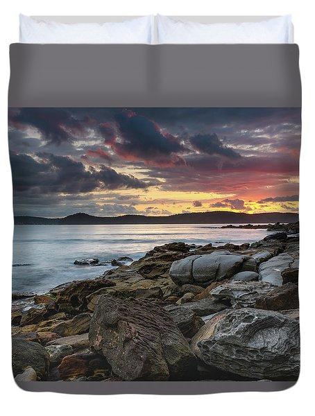 Colours Of A Stormy Sunrise Seascape Duvet Cover