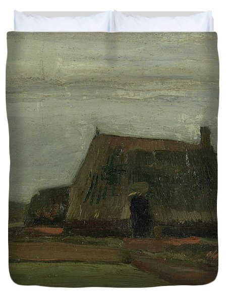 Farm With Stacks Of Peat Duvet Cover