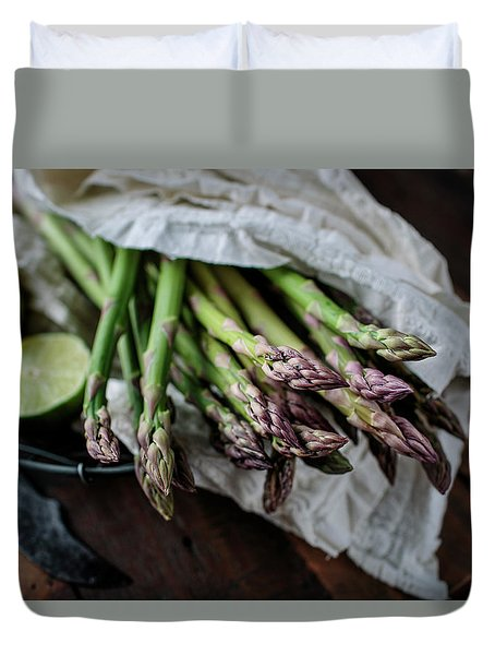 Fresh Green Asparagus Duvet Cover
