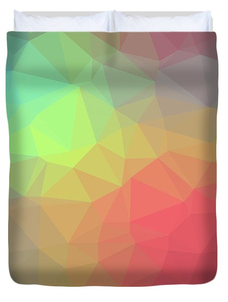 Gradient Background With Mosaic Shape Of Triangular And Square C Duvet Cover