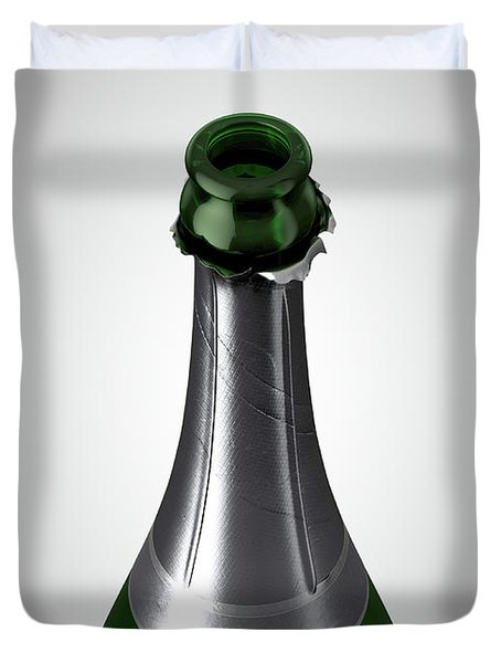 Green Champagne Bottle Open Neck Duvet Cover