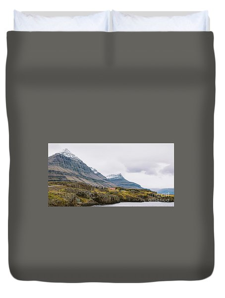 High Icelandic Or Scottish Mountain Landscape With High Peaks And Dramatic Colors Duvet Cover