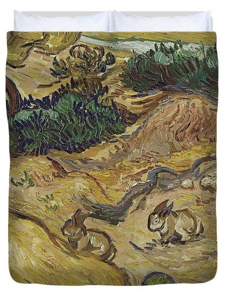 Landscape With Rabbits Duvet Cover