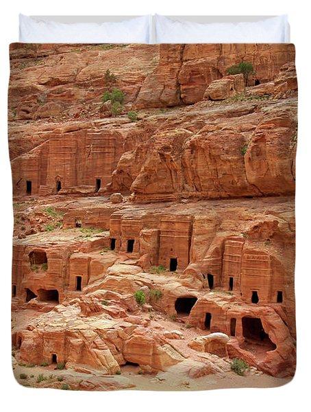 Petra, Jordan - Cave Dwellings Duvet Cover