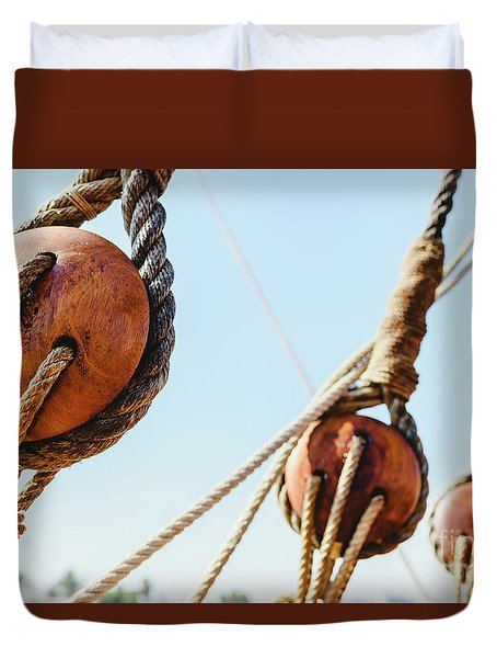 Rigging And Ropes On An Old Sailing Ship To Sail In Summer. Duvet Cover