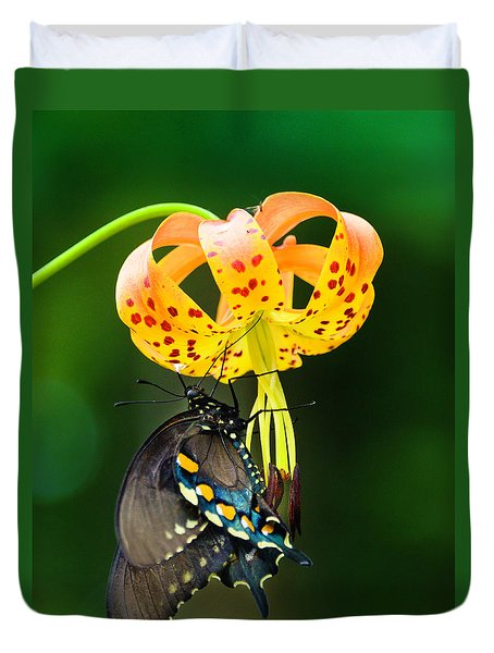 Swallowtail On Turks Cap Duvet Cover