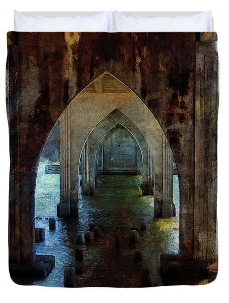 Duvet Cover featuring the photograph Under The Bridge by Thom Zehrfeld