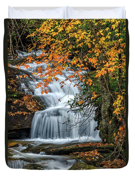 Waterfall And Fall Color Duvet Cover